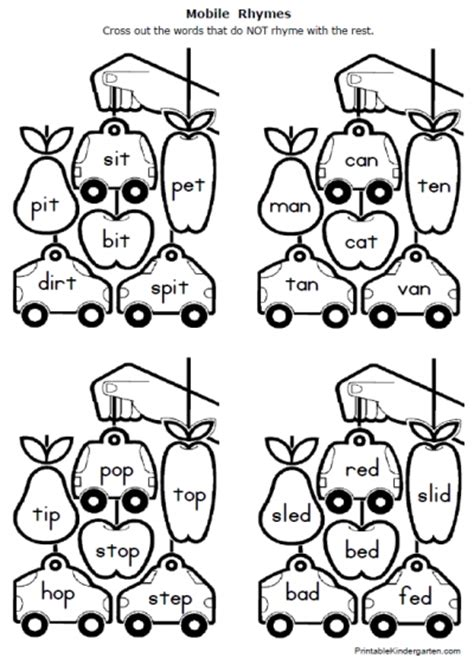 Rhyming Worksheets For Kindergarten by Printable Kindergarten Rhyming Words Worksheet