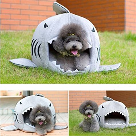 shark dog bed macnoon6 cute grey shark round house pet puppy dog bed for small cat dog cave