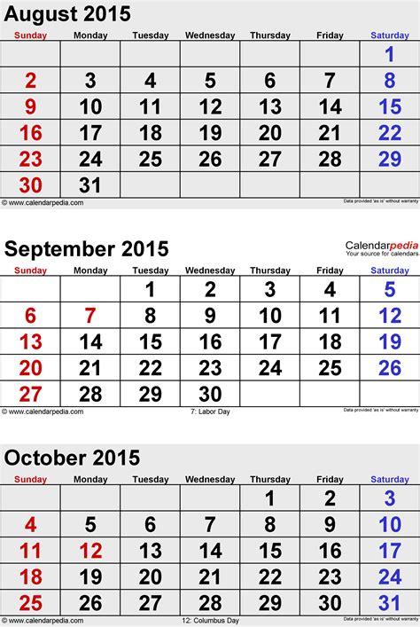 october 2015 calendars for word excel pdf