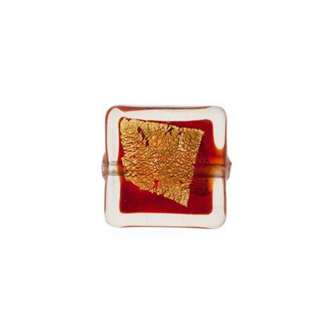 P Square Tosca murano glass bead garnet tosca square gold splashes 12mm
