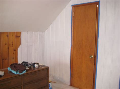 Gray Walls In Bedroom - remodelaholic painting over knotty pine paneling complete master bedroom redo