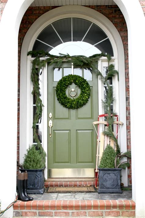 Snapshots Of Our House At Christmas Green Front Doors Front Door Garland