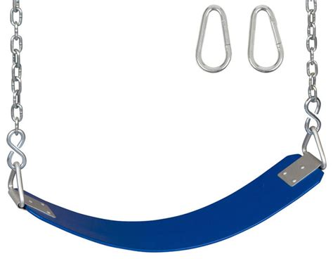 swing seat and chain polymer belt swing seat with chains and hooks blue