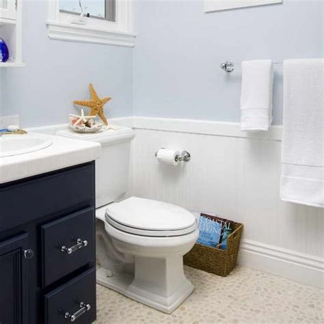 Small Bathroom Wainscoting by Wainscoting In Bathroom Ideas With Pale Blue Wall