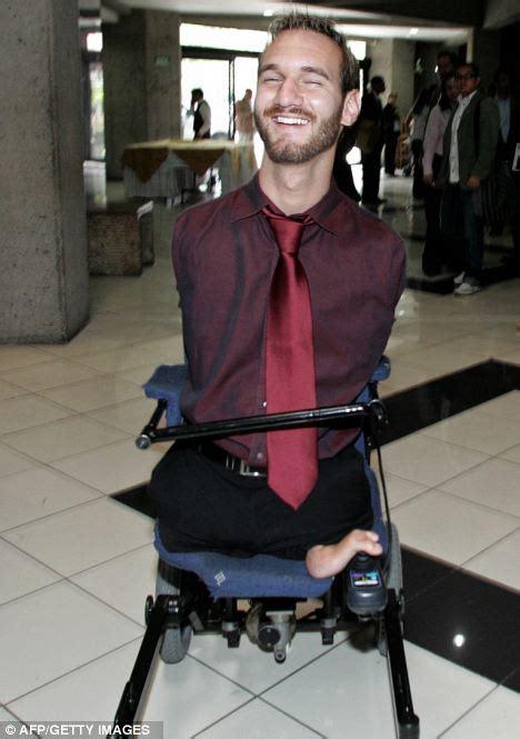 biography of famous handicapped person nick vujicic limbless motivational speaker enjoys