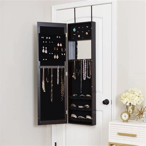 modern white jewelry armoire mercury row modern over the door jewelry armoire with