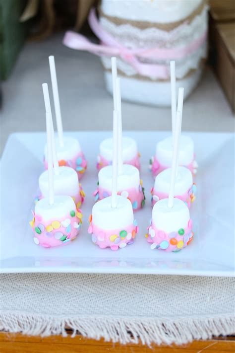 marshmallow for bridal showers pink marshmallow pops