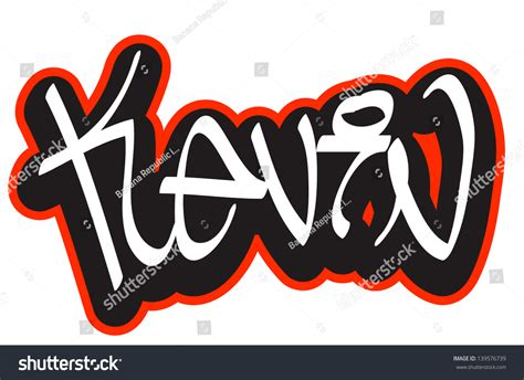 name style design kevin graffiti font style name hiphop stock vector