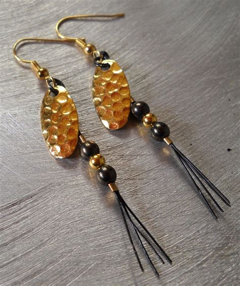 Spinner Blade Gold hammered gold spinner blade lure earrings fishing by jaybehrle