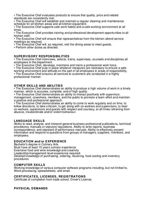 executive chef description chef duties kitchen helper description pdf cook