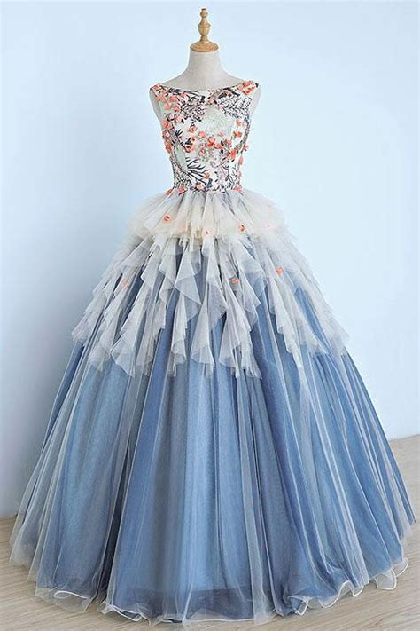 Enfocus Blue Flowers Vneck Dress Original light blue tulle appliques senior prom dress 3d flower evening dress qpromdress cheap