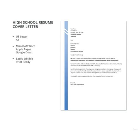 high school resume cover letter cover letter format 17 free word pdf documents