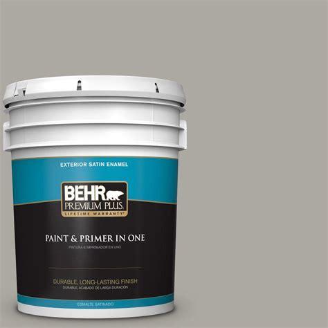 behr premium plus 5 gal n360 3 still gray satin enamel exterior paint 940005 the home depot