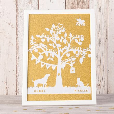 paper cut family tree template personalised family tree framed papercut gettingpersonal
