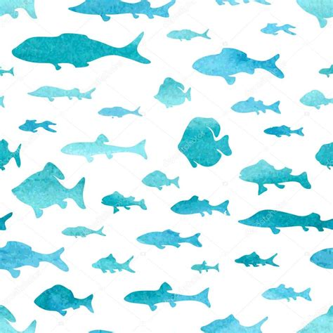 watercolor seamless pattern seamless pattern of watercolor fish stock vector