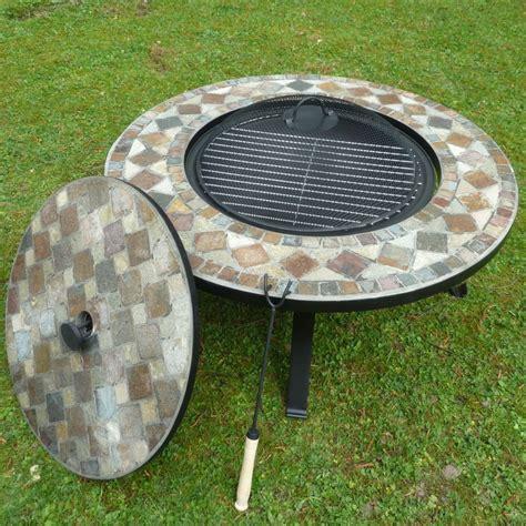 feuerschale gitter ploss stein mosaik feuerkorb grill mit abdeckplatte