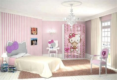 white and pink striped wall contemporary bedroom pink and white striped walls hello kitty bedroom for