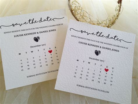 Calendar Save The Date Cards   Wedding Stationery