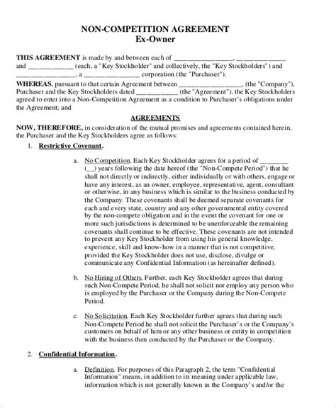 attorney non compete agreement template 9 free word
