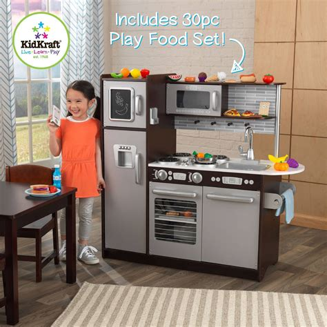 kids pretend play wooden kitchen set 30 pc cooking food