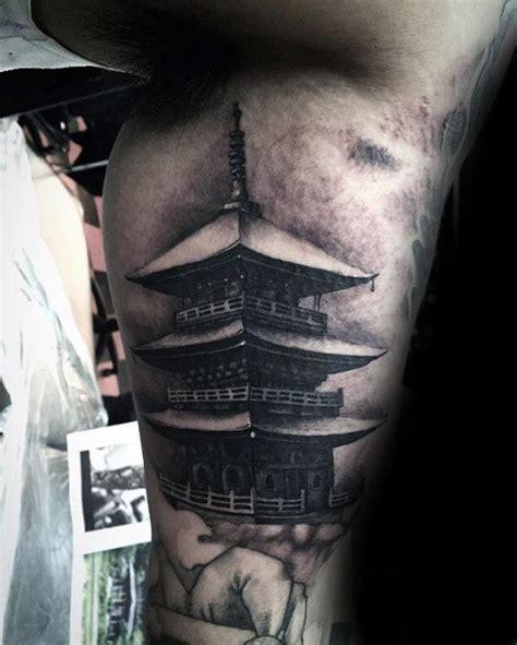 tattoo japanese temple inner arm bicep guys realistic japanese temple tattoos