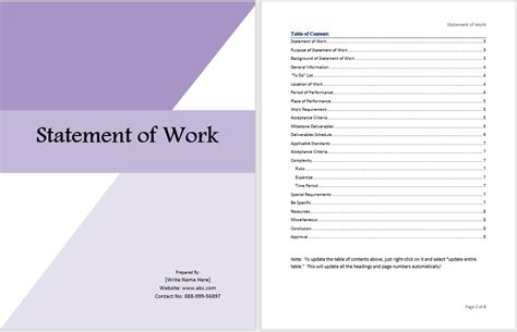 statement of work template free statement of work template ms office documents
