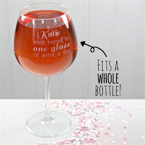 Cylinder Wine Glass Personalised Engraved Whole Bottle Wine Glass By