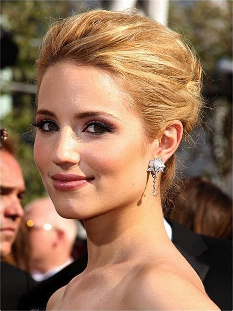 updo hairstyles no bangs glee star dianna agron sweeps her hair into a classic bun
