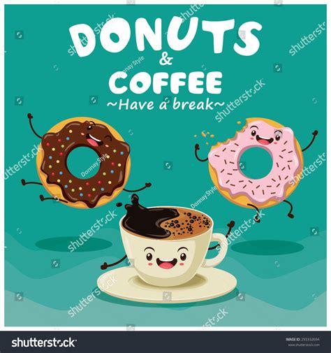 design poster cartoon vintage donuts coffee cartoon character poster design