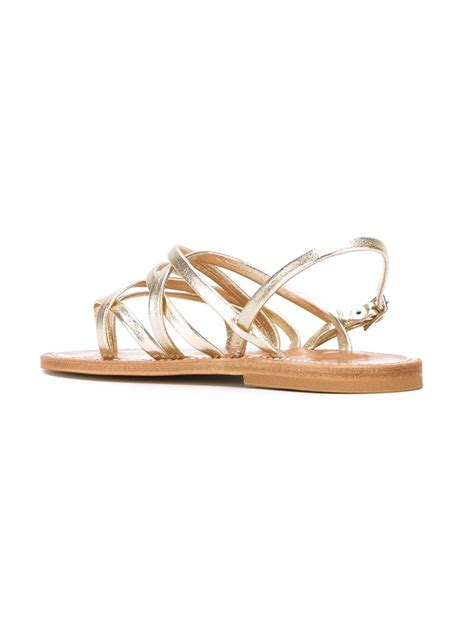 flat strappy sandals lyst k jacques strappy flat sandals in metallic