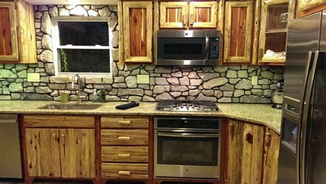 cultured backsplash rustic cedar kitchen with cultured backsplash