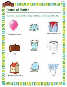 states of matter printable science worksheets for 3rd