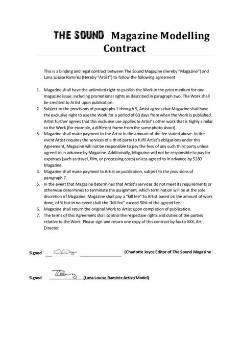 modeling contracts free printable documents