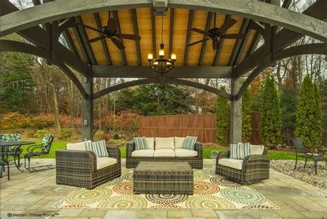 Pavilion Patio Furniture by Shadescape Timber Frame Pavilion Installed In Connecticut