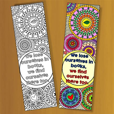 printable coloring bookmark templates with four designs