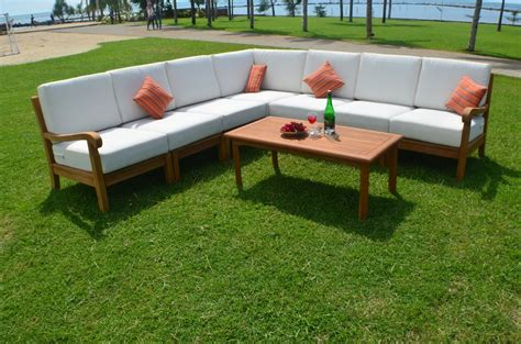 napa patio furniture 8 pc teak wood garden indoor outdoor patio sectional sofa