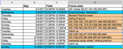 Mba Study Schedule by Fortune 800 Our Journey To An Mba Time To Get Organized