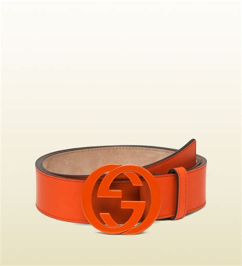 Gucci Ns Leather Orange gucci leather belt with interlocking g buckle in orange for lyst
