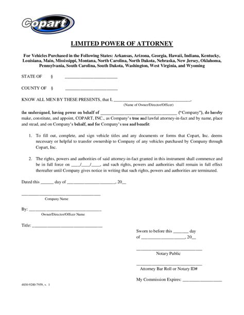 limited power of attorney template blank limited power of attorney template free