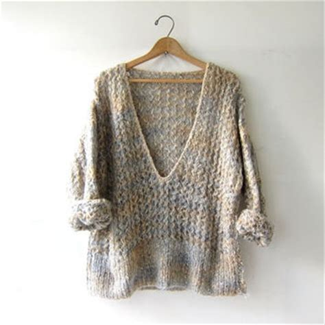 V Neck Chunky Sweater Light Gray vintage wool sweater chunky knit from birdies