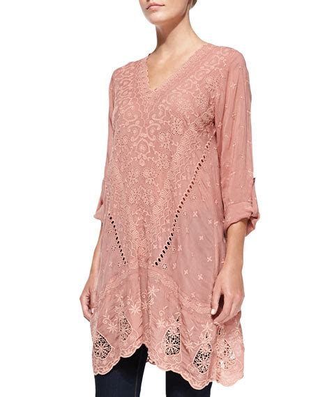 V Neck Embroidery Tunic 4350 johnny was collection yen embroidered v neck tunic apricot