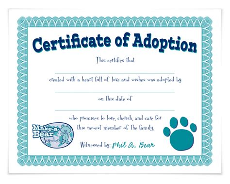 printable pet rock adoption certificate just b cause
