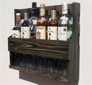 6 bottle wall mount liquor rack with shelf which holds up to 5