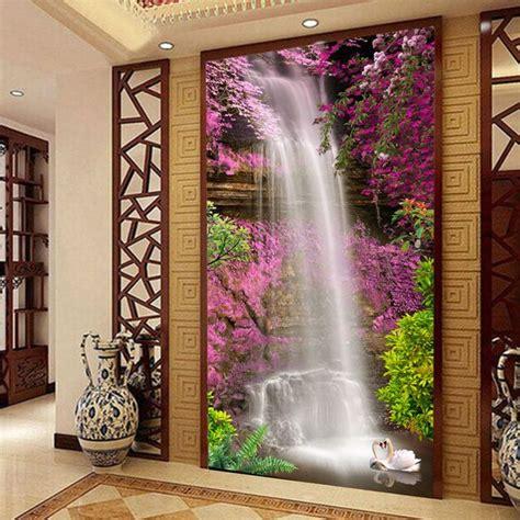 waterfall swan photo wallpaper custom  wallpaper natural