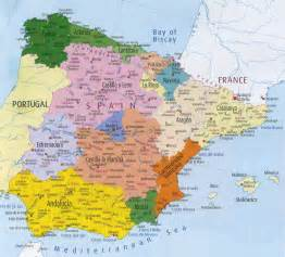 Political Map Of Spain by Map Of Spain Region Political Map Of Spain Tourism