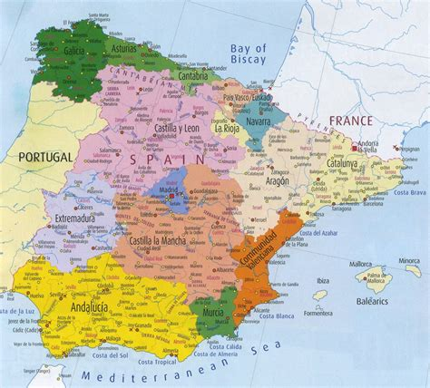 map of spain and regions map of spain region political map of spain tourism