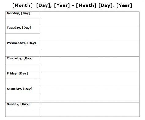 Week Calendar Template   9 Free Word Documents Download