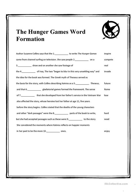 the hunger games themes worksheet answers the hunger games word formation worksheet free esl