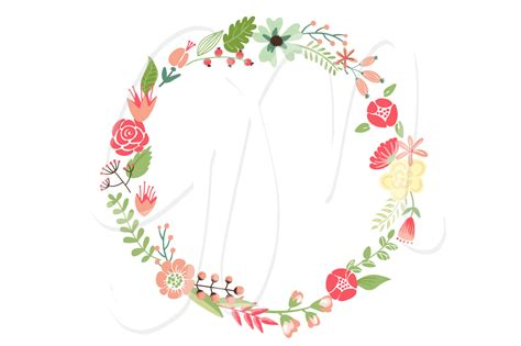 Flower Wreath Clipart floral wreaths clip and flowers illustrations on creative market