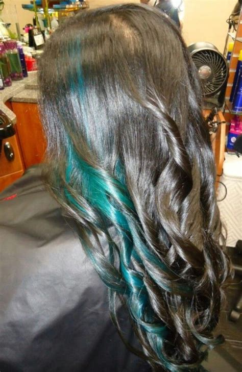 hairstyles with teal highlights black hair with teal highlights hairs picture gallery